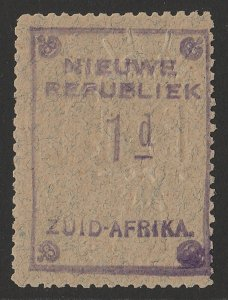 TRANSVAAL NEW REPUBLIC 1887 1d Violet with embossed arms on blue granite paper