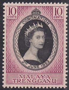 Malaya Trengganu 1953 QE2 10ct Coronation MM SG 88 ( R1188 )
