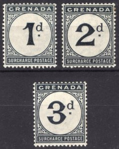 Grenada 1892 1d-3d Post Due SG D1-D3 Scott J1-J3 VLMM/MVLH Cat £450($594)