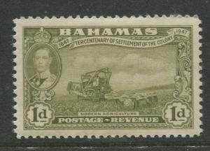 Bahamas - Scott 133 - KGVI Definitive Issue-1948- MH -Single 1d Stamp