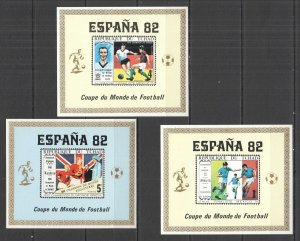 G0834 IMPERF CHAD SPORT FOOTBALL WORLD CUP 1982 MEXICO 1970 !!! RARE 3BL MNH
