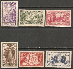 1937 French Guiana Scott 162-167 Paris Intn'l Expo MNH gum dist 40c stamp
