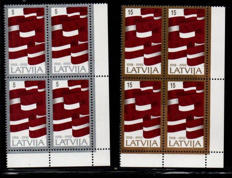 Latvia Sc 353-4 1993 75th Anniversary Independence stamp set mint NH blocks of 4