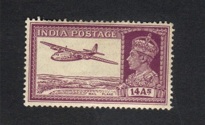 Rare India Scott #161A, 14a King George VI MAIL PLANE ISSUE,Mint-LH,Og