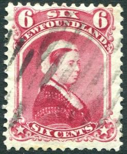 NEWFOUNDLAND-1894 6c Crimson-Lake Sg 60 GOOD USED V30306