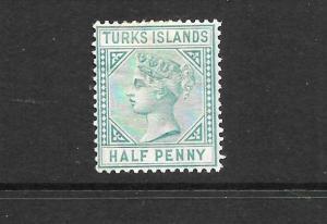 TURKS ISLANDS  1882-85  1/2d  QV  MH    SG 53