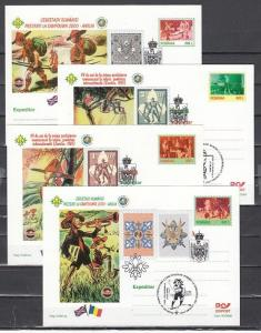 Romania, 2000 issue. 27/JUL-05/AUG/2000. Scout Postal Cards w/Cancels & Labels.