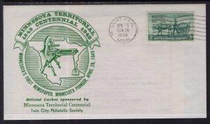 US Minnesota Territorial Centennial 1949 Cover