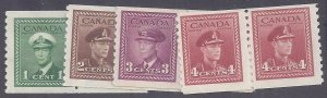Canada Scott #278-81 Mint Pairs VLH OG VF