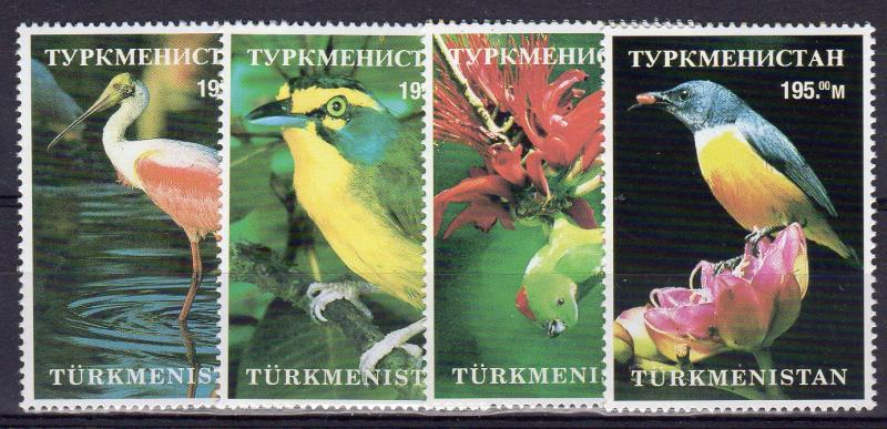 Turkmenistan 1998 Birds-Flowers Set (4) Perforated MNH