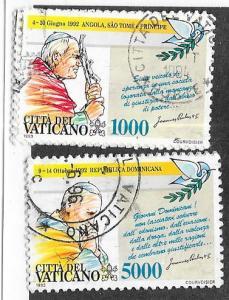 Vatican City #937-938    Travels of  Pope John Paul ll   (U) CV$8.50