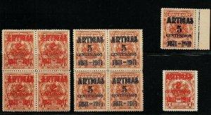 1911 Basket of fruits overprinted Battle war Piedras Uruguay #197-198 block +set