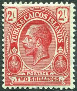 TURKS & CAICOS ISLANDS-1913-21 2/- Red/Blue-Green Sg 138 MOUNTED MINT V31493