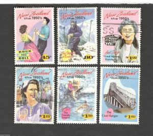 1994 New Zealand SCOTT #1199-1204 NEW ZEALAND THE 1950's  Θ used stamps