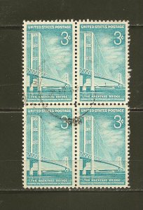 USA 1109 Mackinac Bridge Block of 4 Used