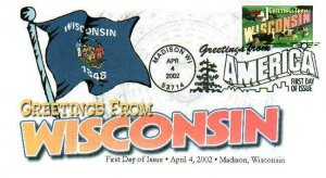 FPMG 3609 Greetings Wisconsin Madison State Flag