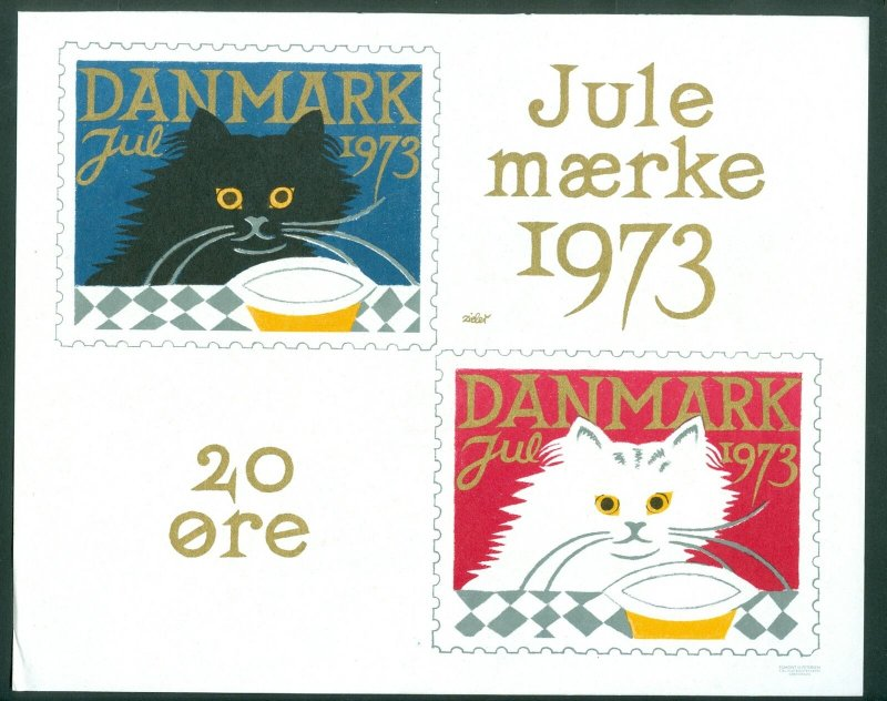 Denmark. Advertising Sign.1 Post Office,Display,Cats. Christmas Seal.1973