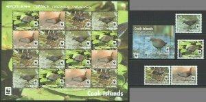 AB1122 2014 COOK ISLANDS WWF FAUNA BIRDS SPOTLESS CRAKE !!! 1SH+1BL+1SET FIX