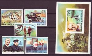 Z261 JLstamps 1975 upper volta-burkina faso imperf set +s/s mh #346-51 churchill
