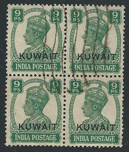 KUWAIT 1945 GVI 9p block of 4 used SG54 cat £68............................45039