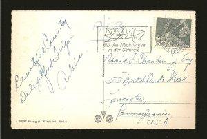Switzerland 337 on PM 1955 Luzern to USA Postcard Used