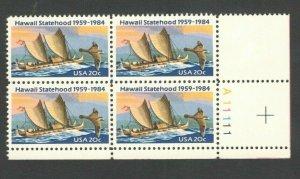 2080 Hawaii Statehood Plate Block Mint/nh (Free Shipping)