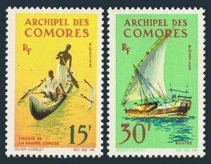 Comoro Isls 61-62,hinged.Michel 61-62. 1964.Grand Comoro canoe,Boutre felucca.
