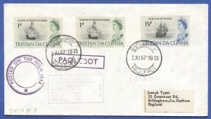 TRISTAN DA CUNHA 1967 Cover to UK, Cape Town, South Africa PAQUEBOT cancels