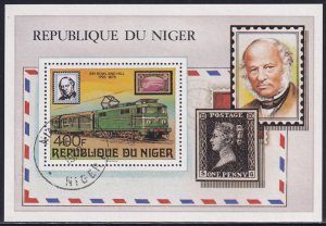 Niger 1979 Sc 478 Electric Train Sir Rowland Hill Penny Black Stamp SS CTO NH