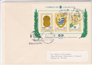 Uruguay 1981 Football Slogans Wreath Sports Stamps Sheet Cover to Spain Rf 29028