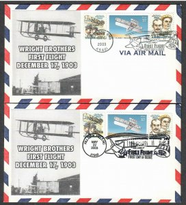 US # 3783 100th Anniv First Flight 2 Diff Combo Lakestamps FDCs - I Combine S/H
