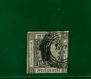 Germany Baden 1851 1kr THIN PAPER first printing FU Scott.1a cat $800 ORANGE342