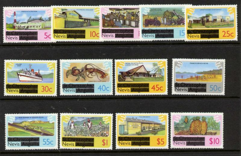 Nevis 100-12 MNH Ship, Aircraft, Industry, Agriculture, Lobster, Fruit, Crab