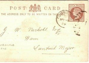 GB Wales Stationery Card *COWBRIDGE UNION* *224* 4VOD Duplex Glamorgan 1878 ZB52