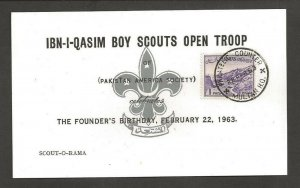 1963 Pakistan Boy Scouts Scout-o-Rama IBN-I-Qasim card