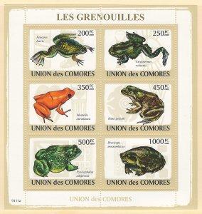 Comoros Scott 1095 Souvenir Sheet MNH! Frogs!