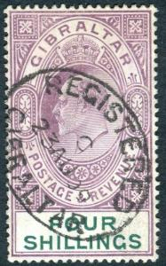 GIBRALTAR-1911 8/- Purple & Green.  A fine used example Sg 74