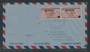 TOKELAU ISLANDS (P0912B) 1/- SURCH PR ON 1956 COVER TO CANADA,   SCARCE USEAGE