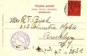 Gibraltar 1d KEVII 1907 Gibraltar PPC to Brooklyn, N.Y. with violet Bristol H...