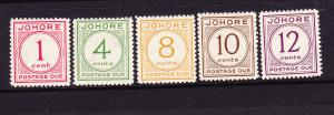 JOHORE  1938 POSTAGE DUES SET 5  MLH SG D1/D5