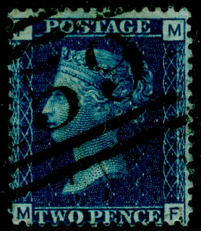 SG47, 2d dp blue plate 13, FINE USED. Cat £30. MF