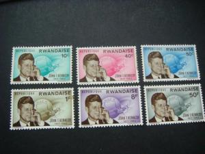 Rwanda 1963 Kennedys Death Toning on some perfs see scans MH SG 128-33 Cat £5-75