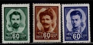 Russia Scott 1209-1211 MNH** 1948 Hero set CV $19.50