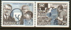 SWEDEN 1107a 50th Anniv. Broadcasting Corp. MNH