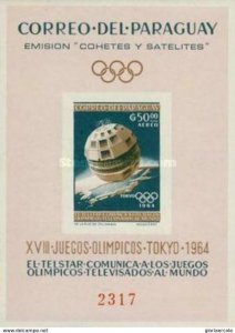 SW1353 - Paraguay  - 1964  Space Exploration and Olympic Games -  Minisheet MNH