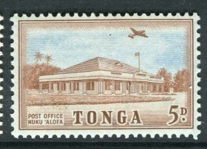 TONGA; 1953 early QEII issue fine Mint hinged 5d. value
