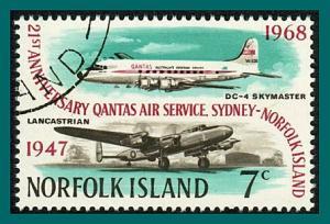 Norfolk Island 1968 QANTAS, 7c used #120,SG97