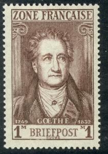 GERMANY FRENCH OCCUPATION 1945-46 1m Johann Wolfgang von Goethe Sc 4N11 MNH