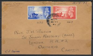 GB Channel Islands 1948 Cover w/ SG C1-2  FDC to Canada see scans SC 269-270 ...