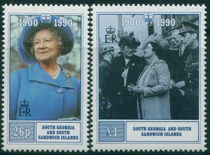 South Georgia 1990 SG195-196 90th Birthday Queen Mother set MNH